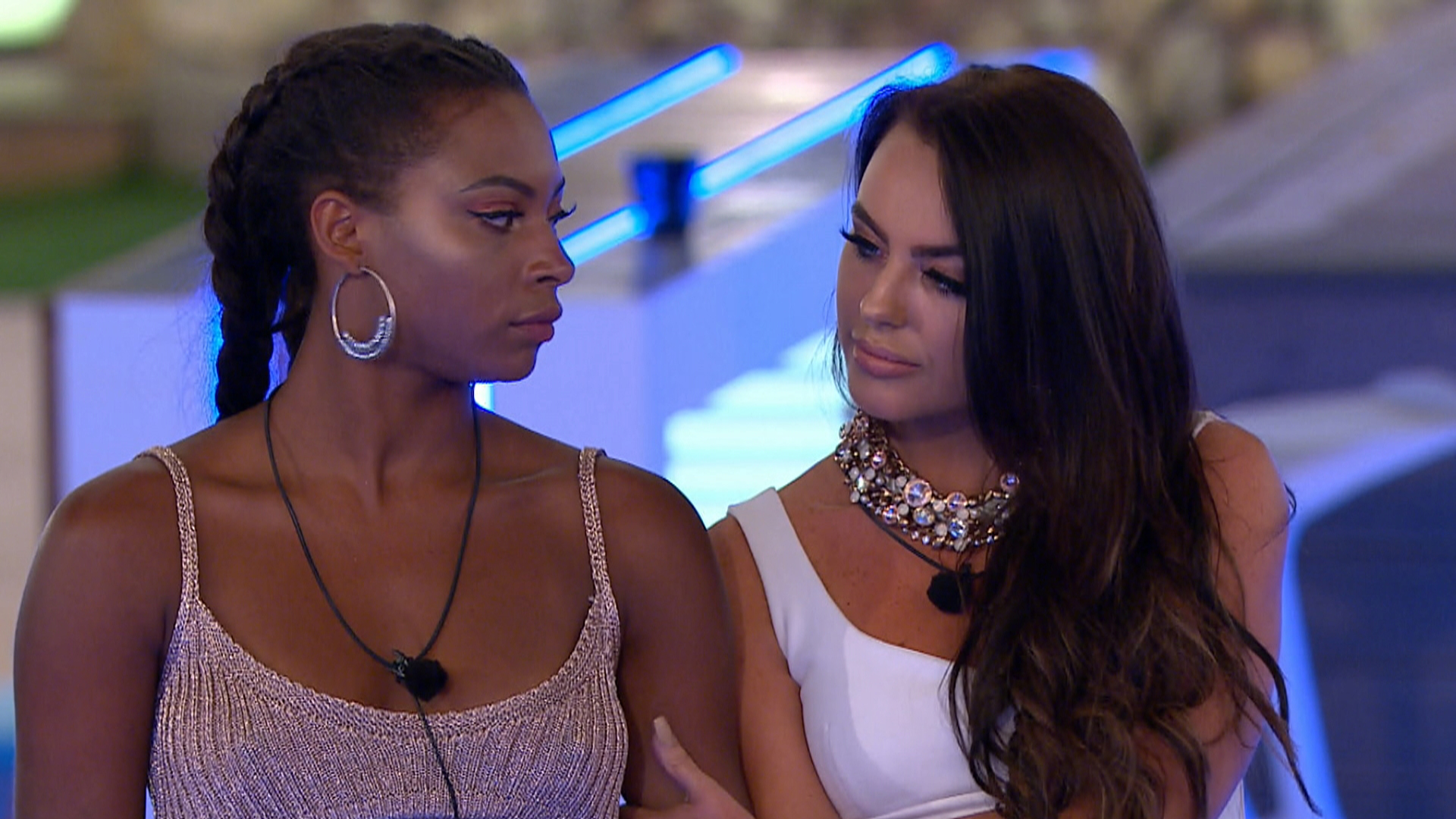 From ITV Studios  Love Island: SR4: Ep19 on ITV2  Pictured: The Islanders' worst fears are confirmed when a surprise text reveals a looming recoupling: Islanders, tonight there will be a recoupling. The boys will choose which girls they want to couple up with and the girl not picked will be dumped from the island.  With both Samira and Rosie in a compromising position, having failed to find love, it soon becomes clear that a big decision will lie with new boy Sam.  This photograph is (C) ITV Plc and can only be reproduced for editorial purposes directly in connection with the programme or event mentioned above, or ITV plc. Once made available by ITV plc Picture Desk, this photograph can be reproduced once only up until the transmission [TX] date and no reproduction fee will be charged. Any subsequent usage may incur a fee. This photograph must not be manipulated [excluding basic cropping] in a manner which alters the visual appearance of the person photographed deemed detrimental or inappropriate by ITV plc Picture Desk.  This photograph must not be syndicated to any other company, publication or website, or permanently archived, without the express written permission of ITV Plc Picture Desk. Full Terms and conditions are available on the website www.itvpictures.co.uk  For further information please contact: james.hilder@itv.com / 0207 157 3052  ITV, TL