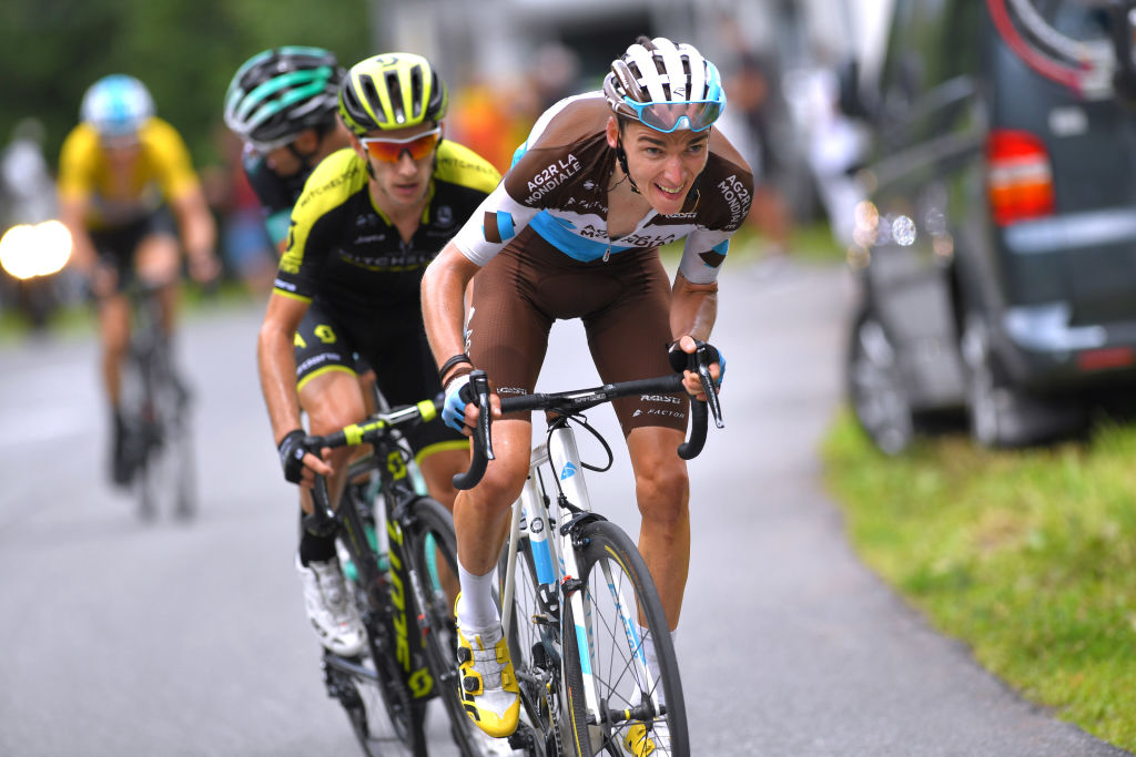 SAINT-GERVAIS LES BAINS - MONT BLANC, FRANCE - JUNE 10: Romain Bardet of France and Team AG2R La Mondiale / Adam Yates of Great Britain and Team Mitchelton-Scott / during the 70th Criterium du Dauphine 2018, Stage 7 a 136km stage from Moutiers to Saint-Gervais-Les Bains-Mont Blanc, Montee du Bettex 1372m on June 10, 2018 in Saint-Gervais-la-Foret, France. (Photo by Tim de Waele/Getty Images)