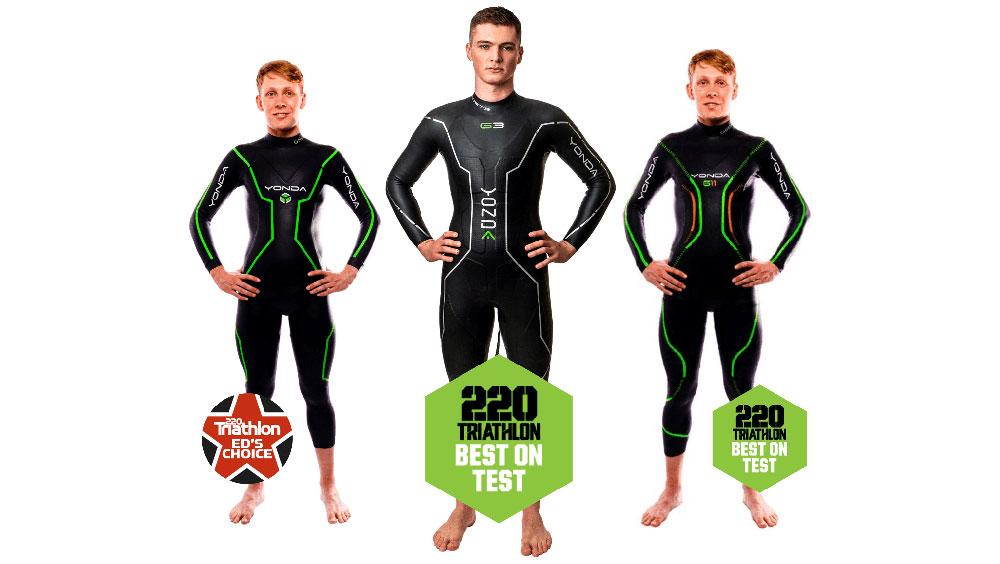 Three men wearing Yonda wetsuits