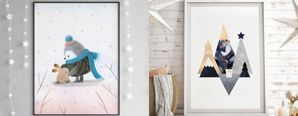 Penguin friend poster by Dubravka Kolanovic and Christmas Mountains print by Elisabeth Fredriksson