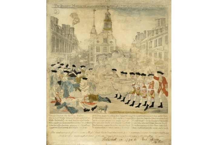 Antique print of the Boston Massacre from the American Revolutionary, by Paul Revere (American, 1734-1818) (hand-colored engraving), 1770. The title of the print is 'The Bloody Massacre perpetrated in King Street Boston on March 5th 1770 by a party of the 29th Reg't'. (Photo by GraphicaArtis/Getty Images)