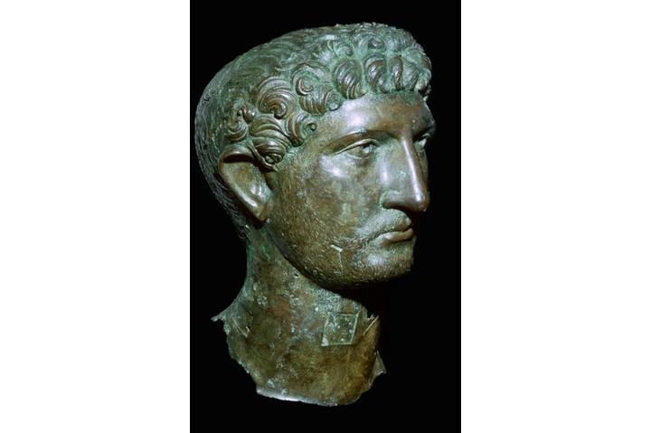 A second-century bronze head of Roman Emperor Hadrian