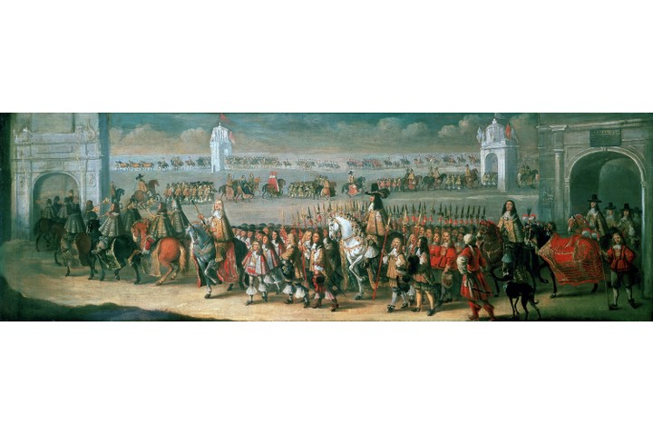 UNSPECIFIED - CIRCA 1754: Procession of Charles II between the Tower of London and Westminster 22 April 1661, on the eve of his coronation: 1662. Dirk Stoop (c1618-c1676) Dutch painter and etcher. (Photo by Universal History Archive/Getty Images)