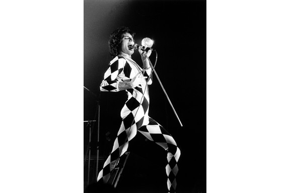 Freddie Mercury – born Farrokh Bulsara – on stage at Brondby Hallen, Denmark. (Photo by Jorgen Angel/Redferns)
