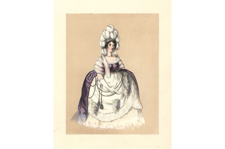 Dress of the reign of George III, 1760 - 1820, Woman in feathered headdress, gown of purple silk with lace sleeves, large hooped petticoats with bunches of flowers, Wardrobes preserved of the court of Queen Charlotte, Prints and recollections of the style, and the panier hoop still in the possession of a lady, Handcoloured lithograph from Costumes of British Ladies from the Time of William the First to the Reign of Queen Victoria, London, Dickinson & Son, 1840, 48 mounted plates of women's fashion from 1066 to 1840 based on effigies, manuscripts, portraits, prints and literary descriptions. (Photo by Florilegius/SSPL/Getty Images)