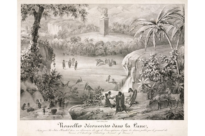FRANCE - DECEMBER 31:  ?Nouvelles Decouvertes dans la Lune?. A French print by the Thierry bothers showing the appearance of the landscape and inhabitants of the Moon. These discoveries published in the New York Sun newspaper in 1835 were allegedly reported from the Edinburgh Journal of Science. It was said that the famous astronomer John Herschel had seen such sights from his observatory at the Cape of Good Hope, South Africa. Using a telescope of fantastic dimensions he was reported as having observed all manner of plants and life on the lunar surface. The deception now called the 'Great Moon Hoax' is thought to have been perpetrated by Richard Adam Locke. An Englishman recently arrived in New York, his stunt was an attempt to increase the circulation of this ailing newspaper.  (Photo by SSPL/Getty Images)