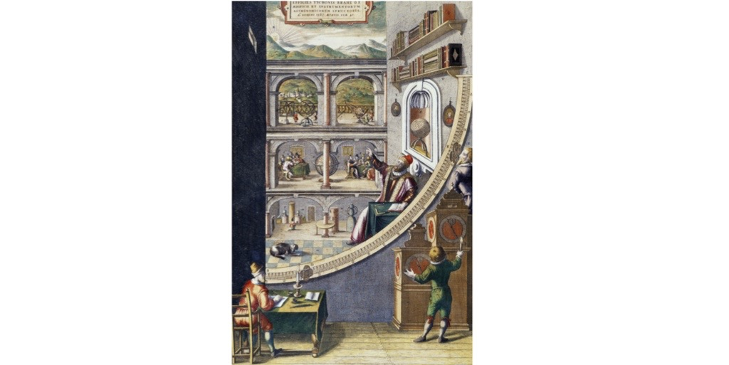 A real and a virtual Tycho Brahe surveys the heavens next to his mural quadrant in the frontispiece to 'Machines of the New Astronomy'. (Photo by DEA/G.DAGLI ORTI via Getty Images)