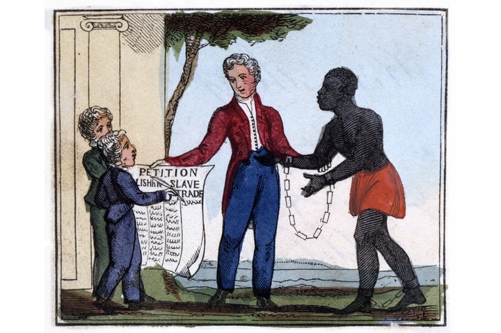 "An illustration titled 'The petition for abolishing the slave trade', from Amelia Opie's 'The Black Man's Lament; or How to Make Sugar', London, 1826. ""Come, listen to my plaintive ditty,/Ye tender hearts, and children dear!/And, should it move your souls to pity,/Oh! try to end the griefs you hear."" (Photo by Photo 12/UIG via Getty Images)"