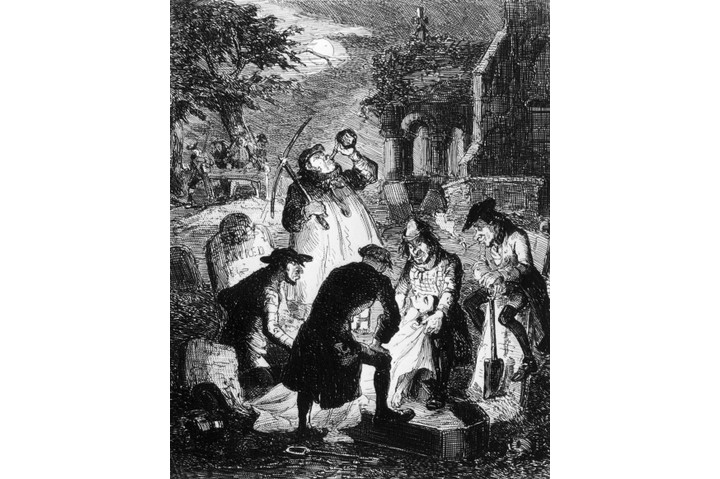 'Resurrectionists', or grave robbers, stealing a corpse from a cemetery to be sold for anatomical study and dissection, circa 1840. (Photo by Hulton Archive/Getty Images)