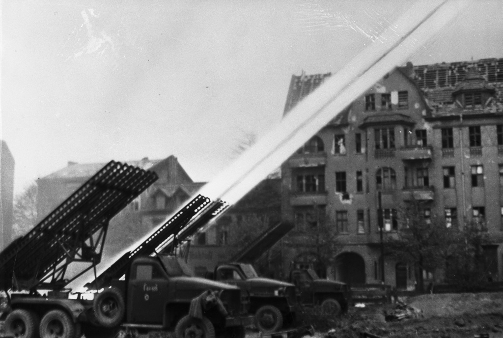 Soviet troops operate a Katyusha rocket launcher during the battle for Berlin