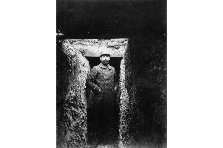 circa 1914:  A French soldier standing in the entrance to a trench.  (Photo by Topical Press Agency/Getty Images)