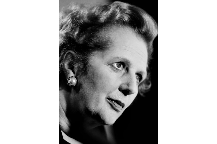 LONDON, UK - MAY 1987: British Prime Minister Margaret Thatcher perspires while making a forceful speech during her successful 1987 election campaign.  (Photo by Tom Stoddart/Getty Images)