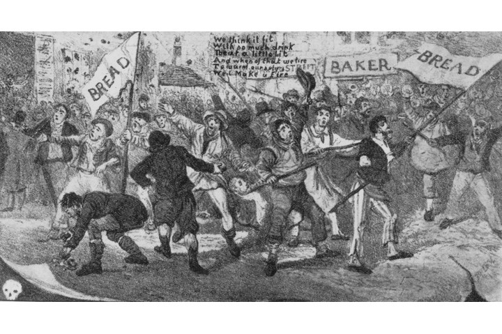 """A cartoonist's depiction of the Ely and Littleport riots. For the Tory government at the time, the riots were a """"frightening warning of the revolutionary anarchy beneath the surface of British life"""", says Dominic Sandbrook. (Hulton Archive/Getty Images)"""
