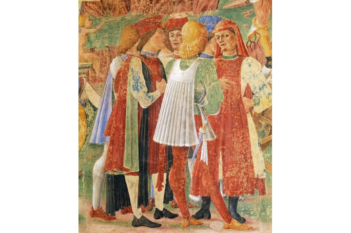 ITALY - CIRCA 2002: Group of merchants, detail from Triumph of Ceres, scene from Month of August, ca 1470, attributed to Cosimo Tura, (ca 1430-1495) and Master of Ercole, fresco, north wall, Hall of the Months, Palazzo Schifanoia (Palace of Joy), Ferrara , Emilia-Romagna. Italy, 15th century. (Photo by DeAgostini/Getty Images)