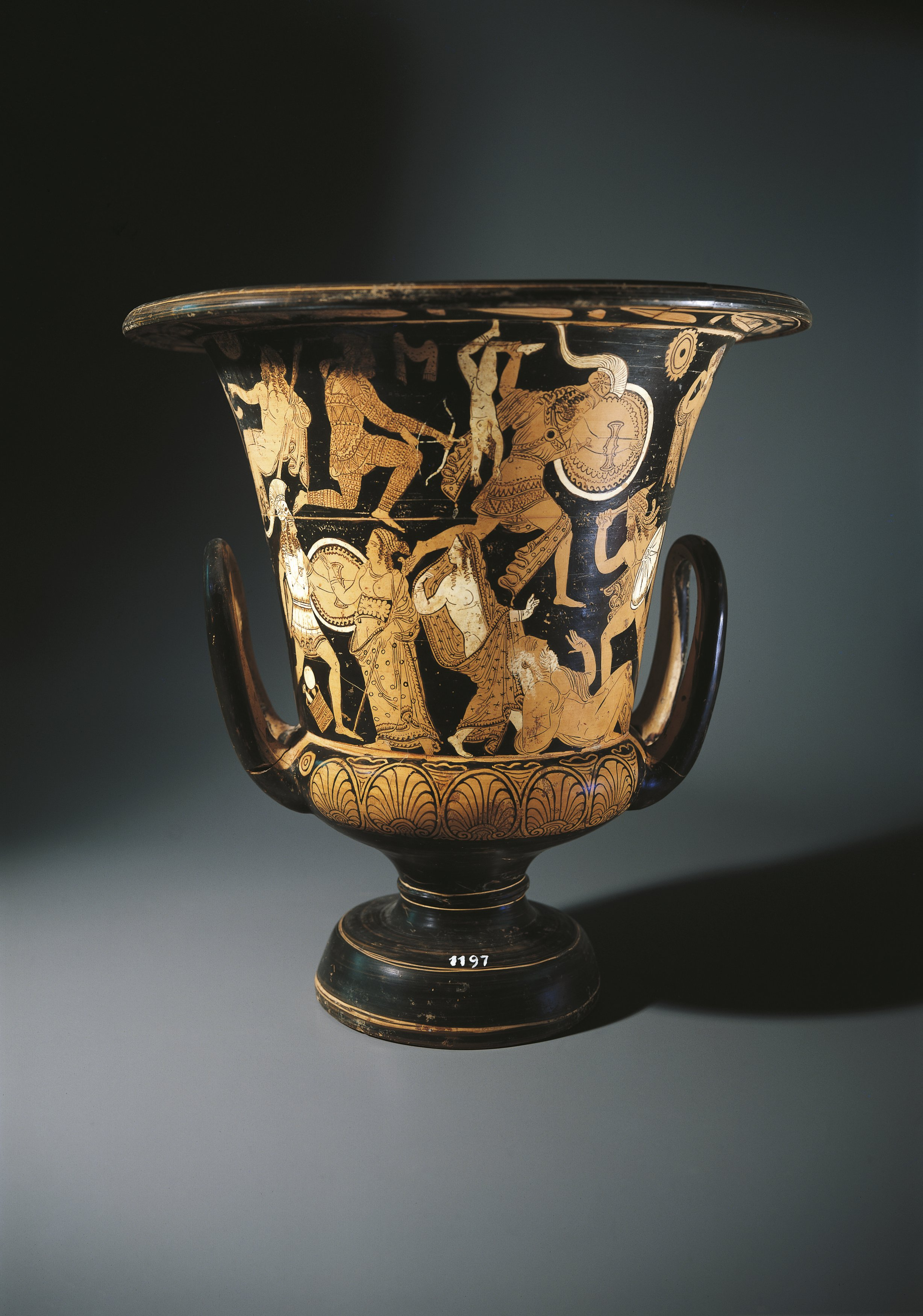 Red-figure pottery, calyx krater depicting Neoptolemus, Astyanax, Helen of Troy and Priamo on ground, by Nazzano Painter, from Civita Castellana