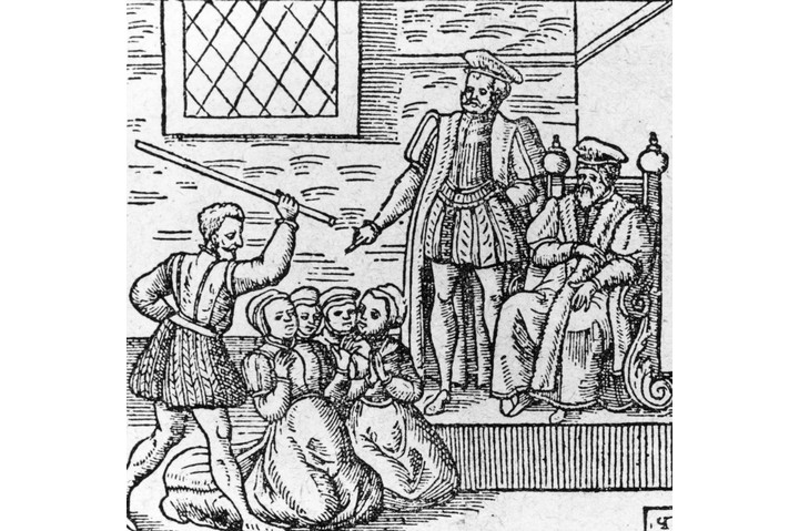 Circa 1610, A group of supposed witches being beaten in front of King James I (King James VI of Scotland) (Photo by Hulton Archive/Getty Images)