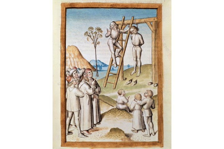 A depiction of a public hanging of a bandit. (Photo by: Leemage/UIG via Getty Images)