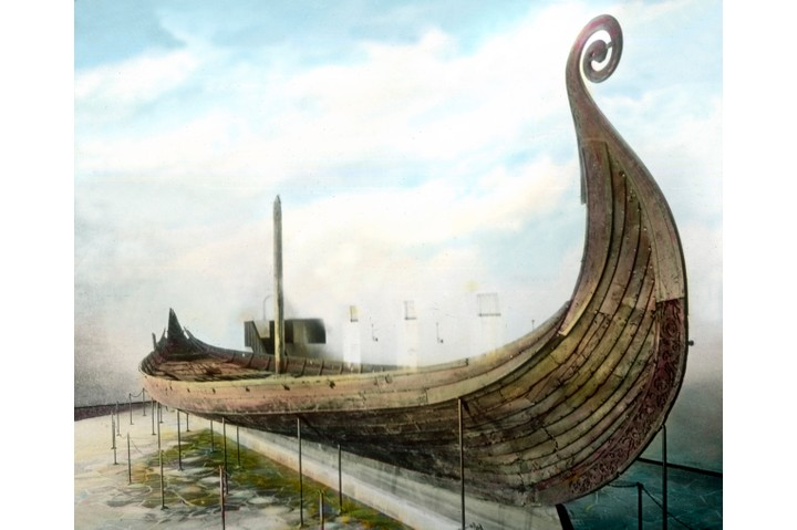 The Oseberg ship at the Viking Ship Museum in Oslo, Norway. (Photo by: Carl Simon/United Archives/UIG via Getty Images)
