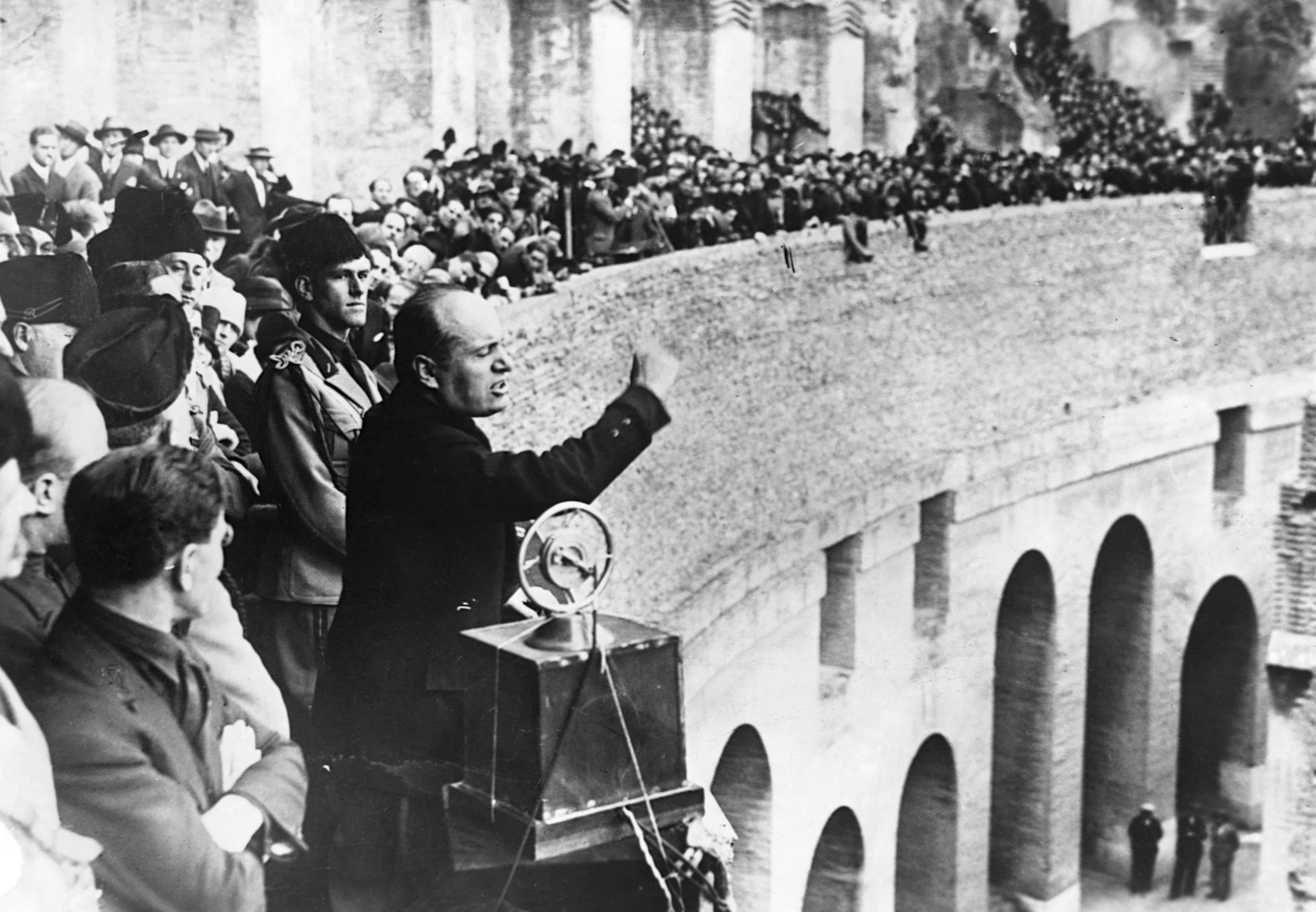 Benito Mussolini makes a speech. (Photo by © CORBIS/Corbis via Getty Images)