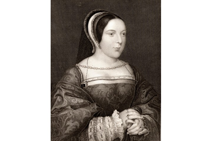 UNSPECIFIED - CIRCA 1754: Margaret Tudor (1489-1541) queen consort of Scotland: daughter of Henry VII of England. Married James IV of Scotland in 1503. Engraving after portrait by Holbein. (Photo by Universal History Archive/Getty Images)