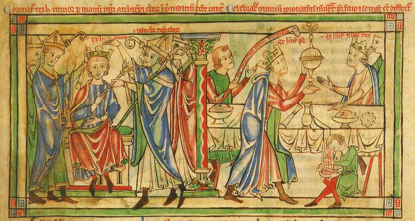 Crowning of Henry in 1170 by Roger, Archbishop of York. At the celebration banquet afterwards, the Prince is waited on by his father, King Henry II