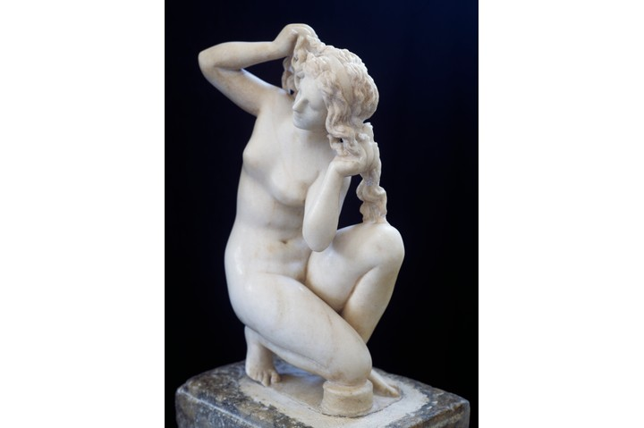 Statue of Aphrodite bathing, Roman copy in marble of the Hellenistic original. Roman Civilisation, 2nd century BC.