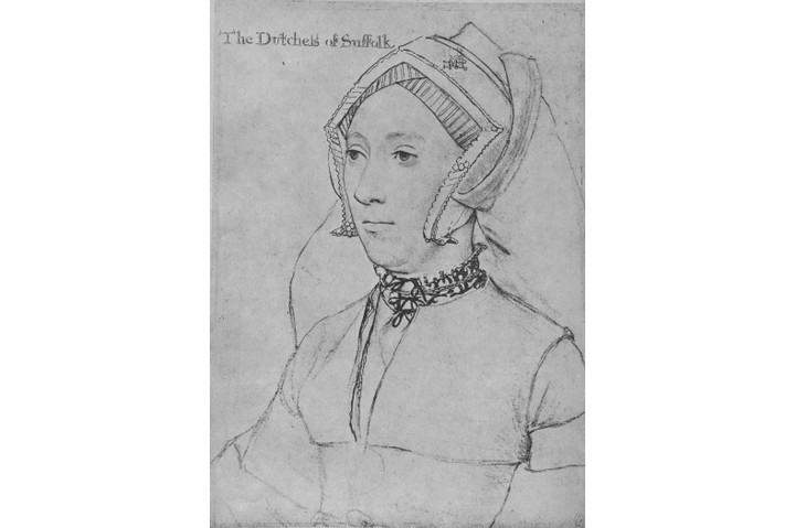 Katherine Willoughby in an 18th-century engraving after a Hans Holbein the Younger portrait. In 1546 the prospect of her marrying England's ageing king was causing tongues to wag in diplomatic circles. (Photo by Print Collector/Getty Images)