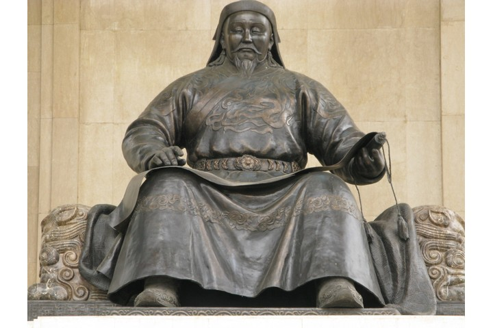 A sculpture of Genghis Kahn