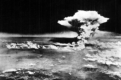 """An aerial photograph of Hiroshima, Japan, shortly after the """"Little Boy"""" atomic bomb was dropped. Dated 1945 (Photo by: Universal History Archive/UIG via Getty images)"""