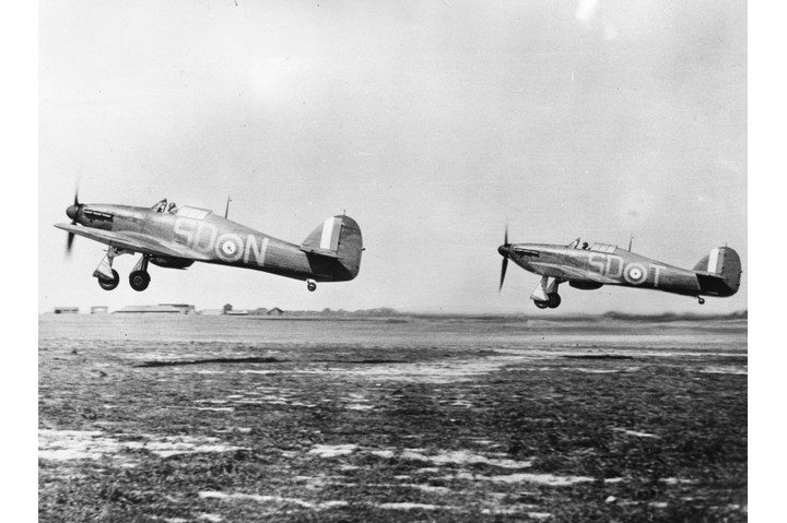 Hurricane fighter planes taking off from Gravesend, after being refuelled and rearmed, during the Battle of Britain. (Photo by Central Press/Getty Images)