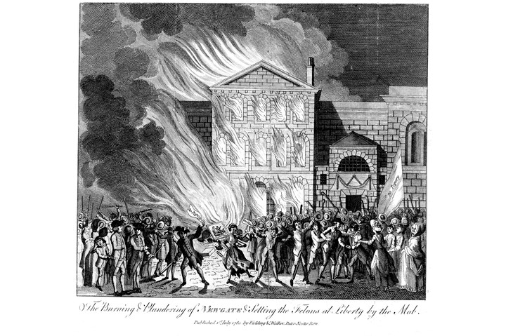 A mob sets fire to Newgate Prison during the Gordon Riots