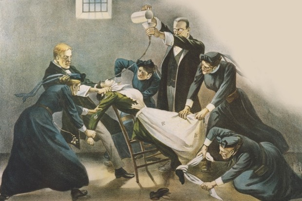 This illustration from a Women's Social and Political Union poster condemns the force-feeding of suffragettes in 1910. Many women were subjected to this brutal procedure between 1909 and August 1914. (Museum of London)