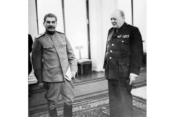 Stalin and Churchill in the conference room of the Livadia Palace during the Yalta Conference, February 1945. (Photo by Sovfoto/UIG via Getty Images)