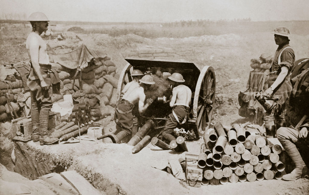 British gunners busily engaged in putting over a curtain barrage. Somme campaign, France, 1916. (Photo by Historica Graphica Collection/Heritage Images/Getty Images)