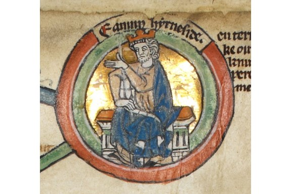 Edmund II - better known as Edmund Ironside - shown in a 14th-century manuscript. (Photo by Wikimedia Commons)