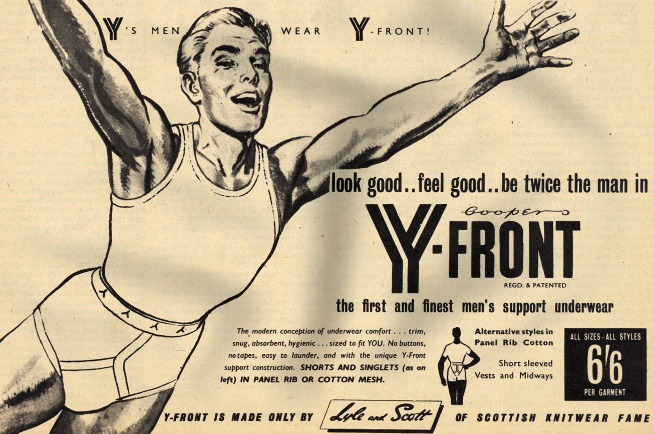 A 1954 advertisement for Cooper's Y-Front. (Photo by Picture Post/Hulton Archive/Getty Images)