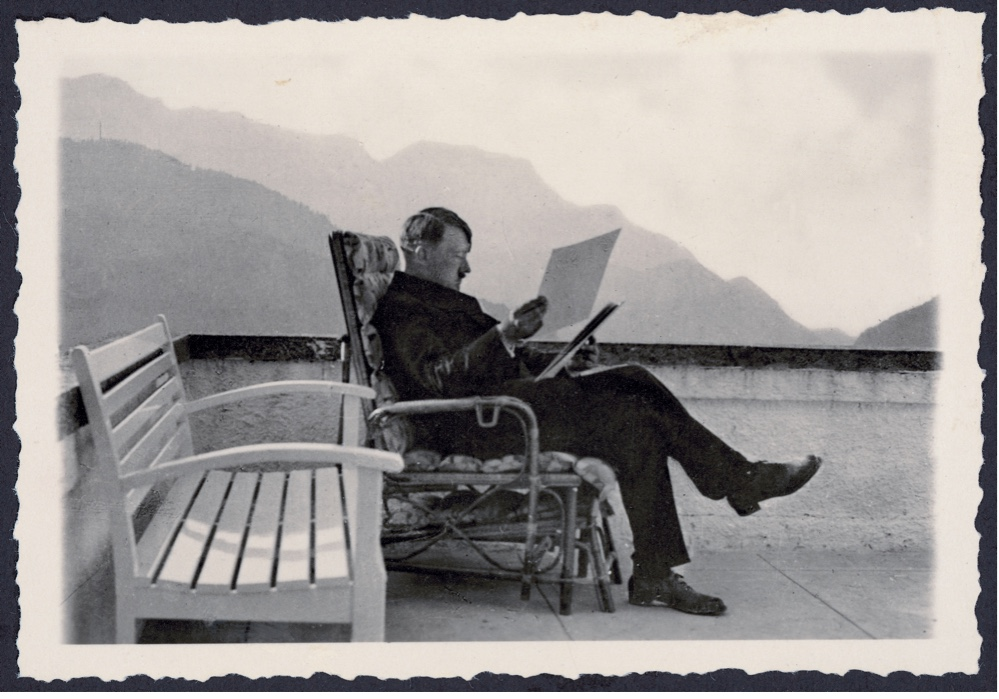 """I read and studied much"": Adolf Hitler at his Berghof mountain retreat in c1936.  (Photo by Imagno/Getty Images)"