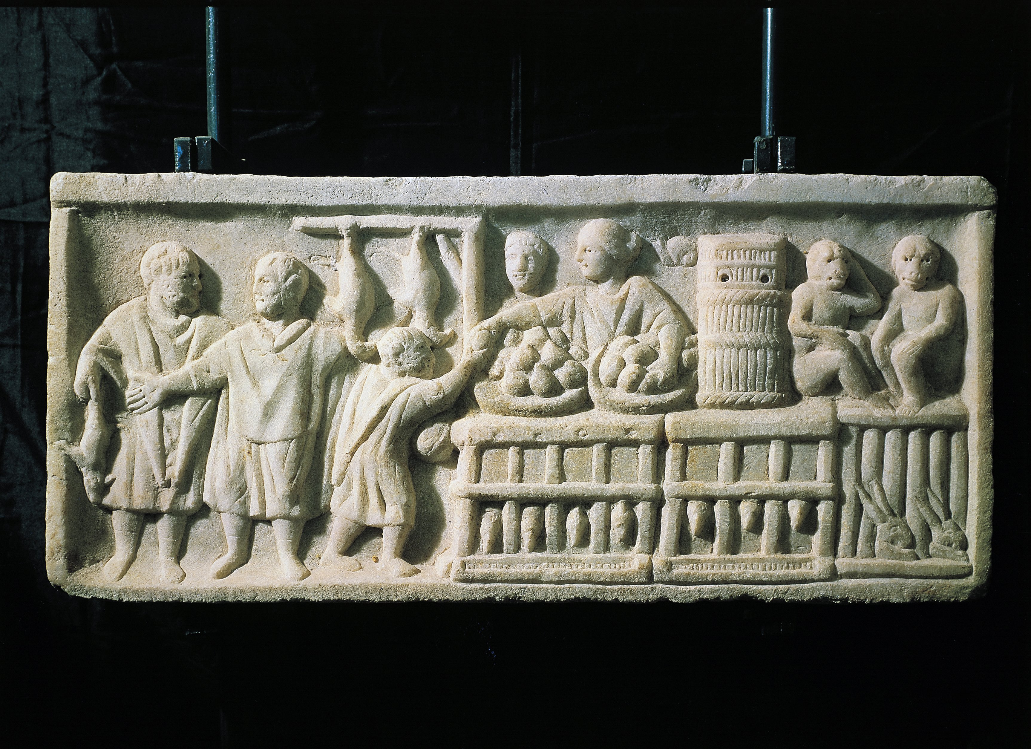 A Roman relief showing a market scene