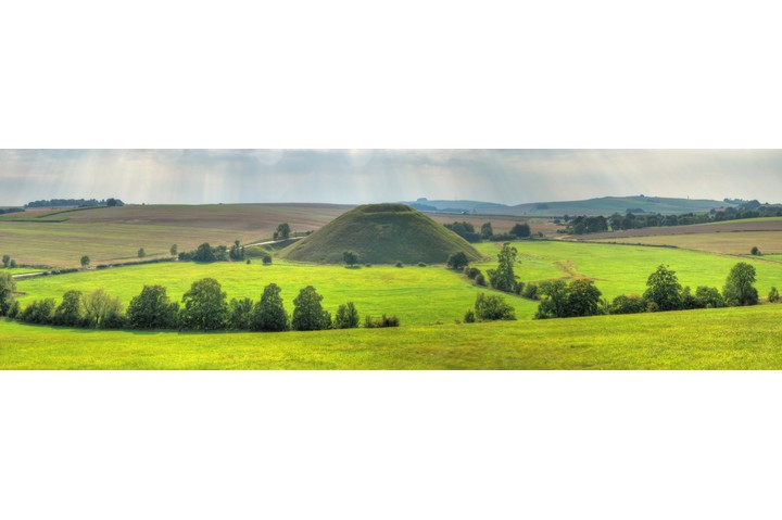 A panorama of the man-made Neolithic structure Silbury Hill in Wiltshire. (Photo by Richard Fairless/Getty Images)