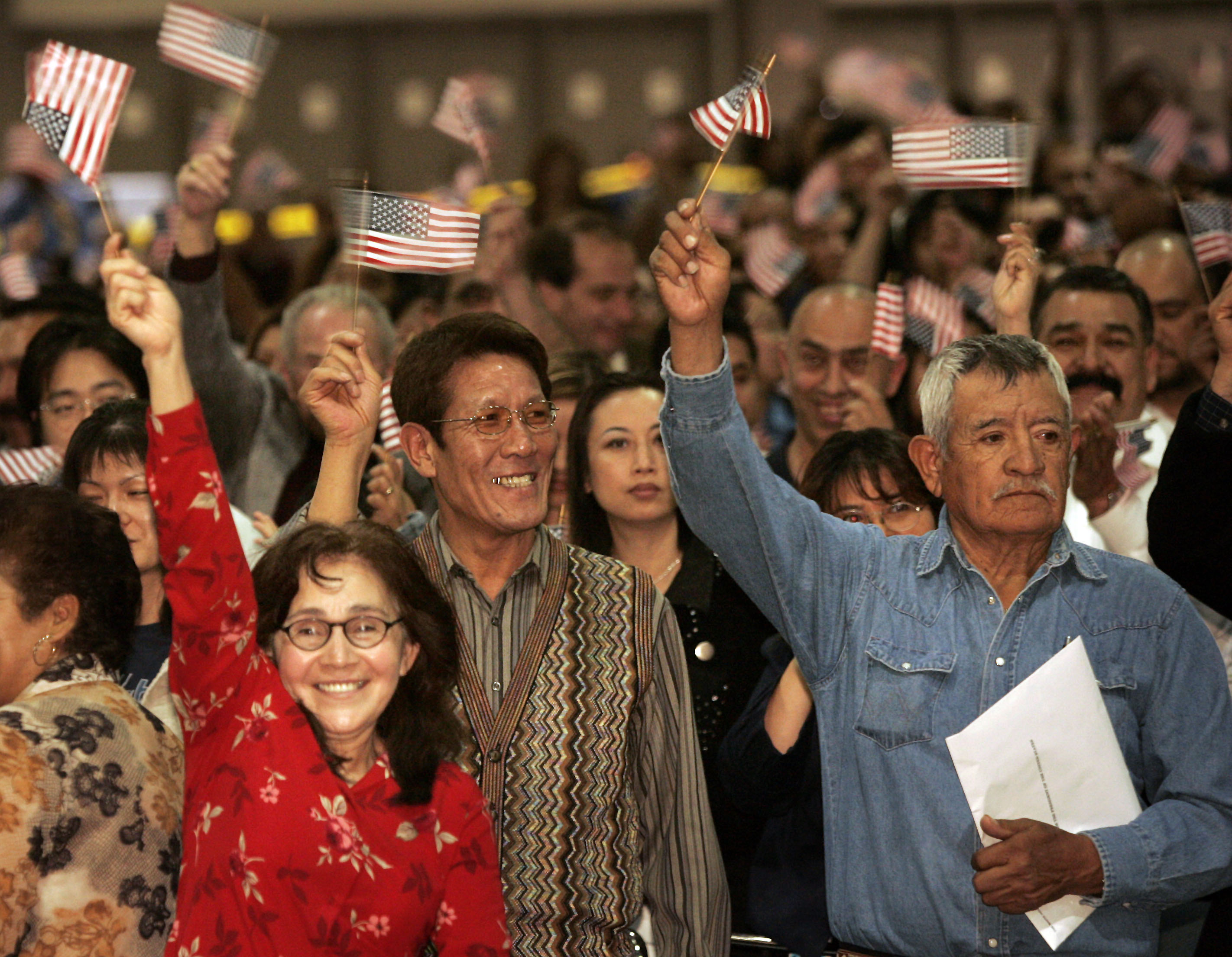 03/22/2007. Los Angeles. New U.S. citizens celebrate after taking the oath at a U.S. District Court