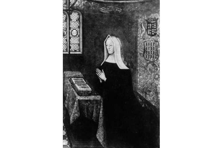 Painting of Margaret Beaufort, mother of Henry VII, depicted on her knees in prayer wearing a head covering. (Photo by Hulton Archive/Getty Images)