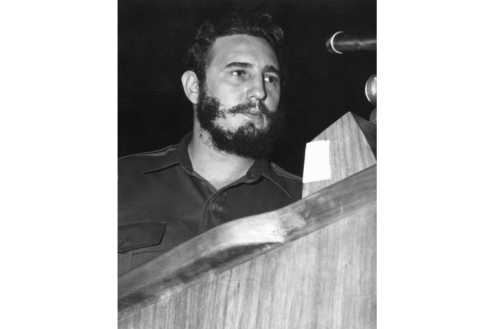 Fidel Castro addresses delegates of the General Assembly of the United Nations in New York, September 1960. (Photo by Tommy Weber/AFP/Getty Images)