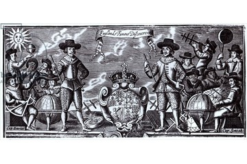 England's Famous Discoverers (engraving) (b/w photo)