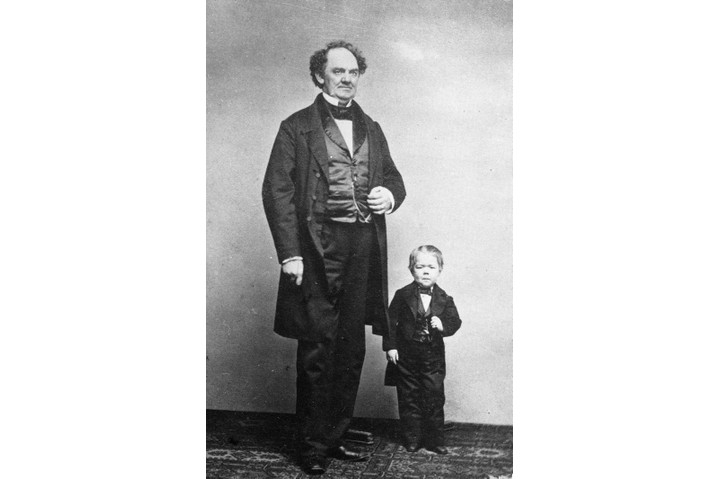 Full-length portrait of (left) American showman Phineas Taylor Barnum (1810–91) and entertainer Commodore Nutt (1814–81), c1862. (Photo by HultonGetty/GettyImages)