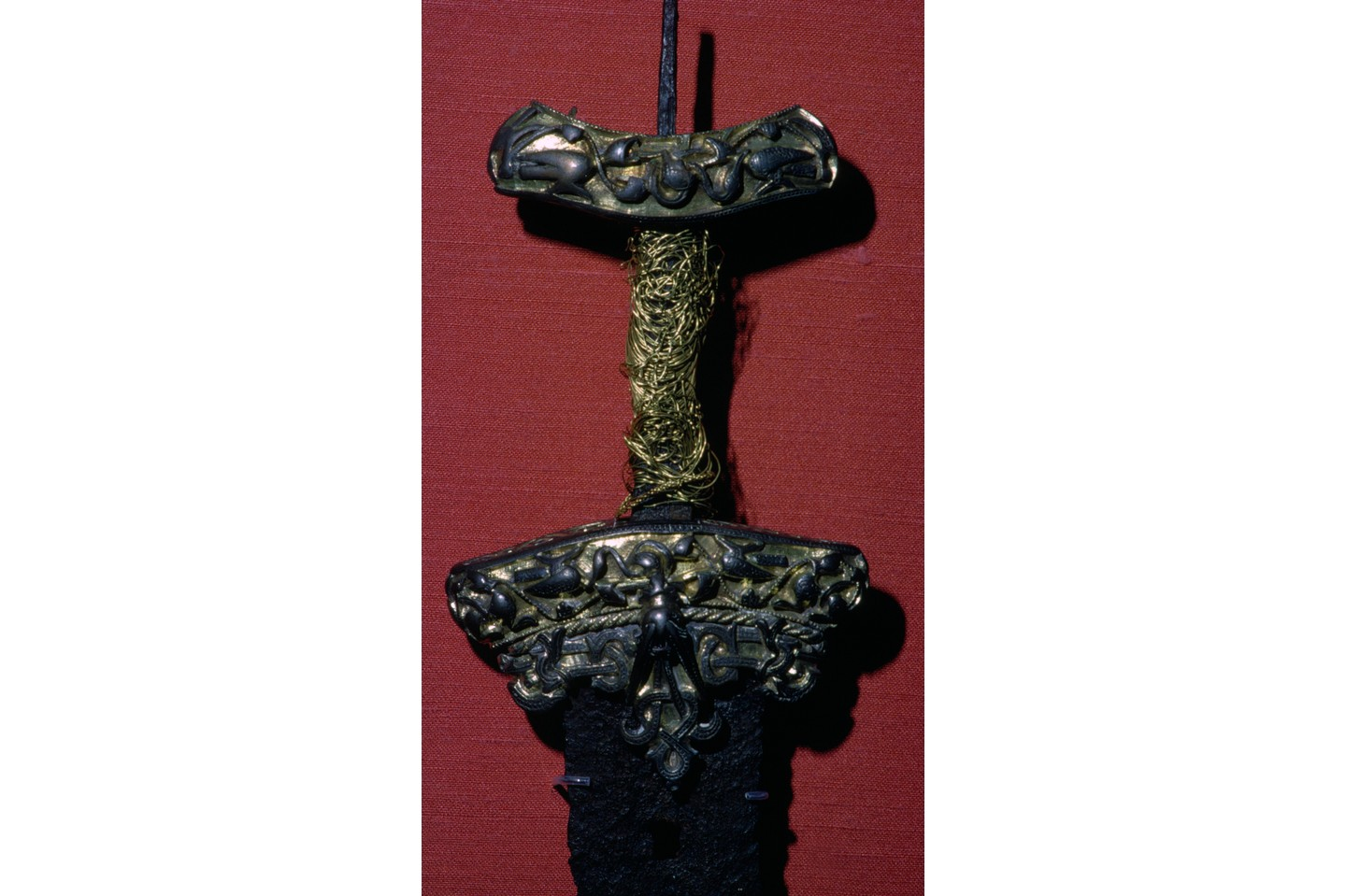 Viking sword with silver and gold hilt, from Dyback, Skane. One of the finest swords of the Viking Age found in Scandinavia, this was either made in England or heavily influenced by English styles in work, being the Winchester style of metalwork, 8th-11th century. (Photo by CM Dixon/Print Collector/Getty Images)