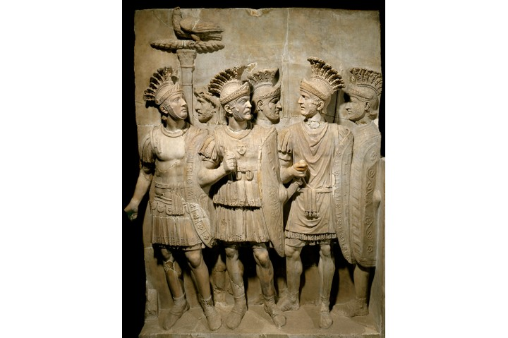 Marble relief depicting the Praetorian Guard, legionnaires and elite soldiers. In the Louvre, Paris, France. (Photo by Leemage/Corbis via Getty Images)