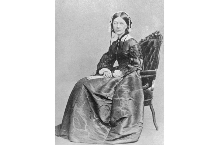 (Original Caption) The Angel of the Battlefields, Florence Nightingale, (1820-1910) is shown here. The English philanthropist was the founder of military hospital work. This picture was taken at the time she established this work of mercy in the Crimean War in 1855.