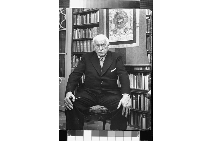 Swiss psychiatrist Dr Carl Jung in his library at home. (Photo by Dmitri Kessel/The LIFE Picture Collection/Getty Images)