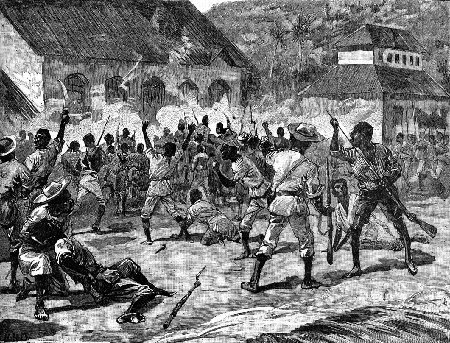 An illustration of the Morant Bay Rebellion of 1865