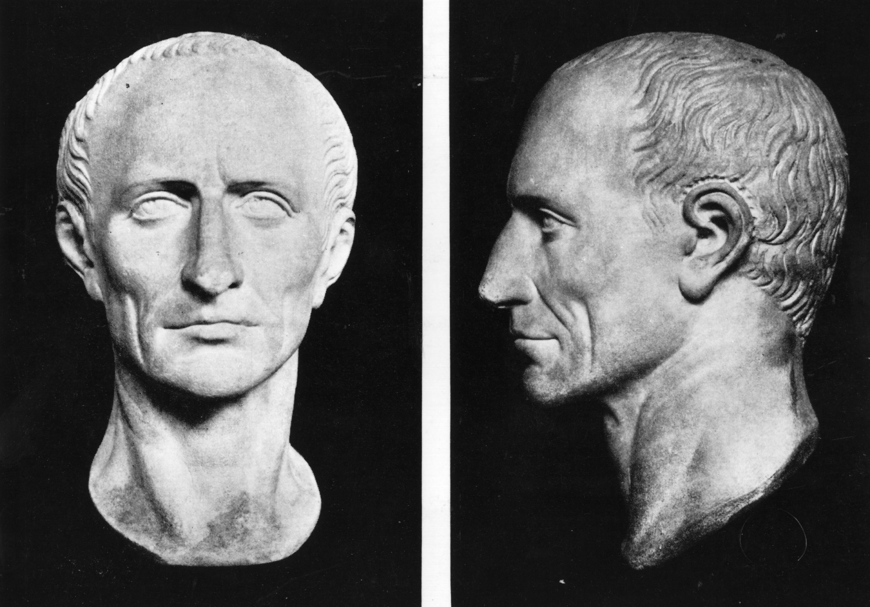 Front and profile views of the bust of Roman dictator Julius Caesar (c50 BC) on display in the British Museum. (Photo by Hulton Archive/Getty Images)